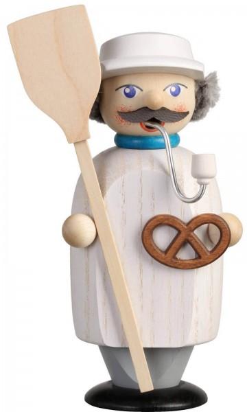 Eine warme Brezel hat er ja schon mitgebracht, der Räuchermann Bäcker, 14 cm von der Seiffener Volkskunst eG. Was er wohl noch alles für Leckereien in seiner …