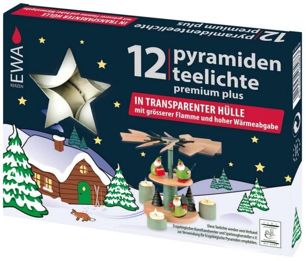 Pyramidenteelichter, Premium Plus, 12 Stück in transparenter Hülle mit größerer Flamme und hoher Wärmeabgabe
