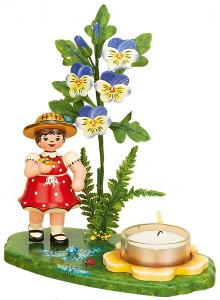 Kerzenhalter Blumenkinder Mädchen mit Hornveilchen, 17 cm von Hubrig Volkskunst GmbH Zschorlau/ Erzgebirge