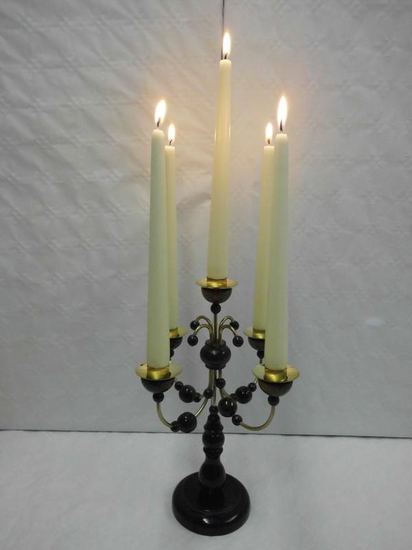 Leuchter, 5- armig nussbraunohne Kerzen, 28 cm hoch, Nestler-Seiffen.com OHG Seiffen/ Erzgebirge