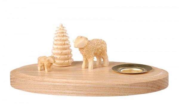 Kerzenhalter mit 2 Schafen hergestellt von Albin Preißler
