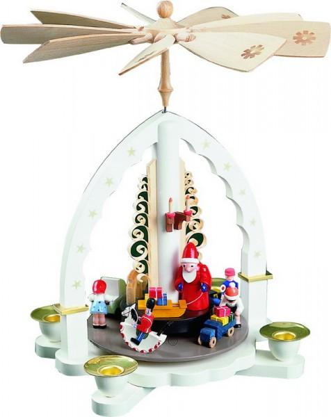 Weihnachtspyramide Weihnachtsbescherung, weiß, 27 cm, Richard Glässer GmbH Seiffen/ Erzgebirge