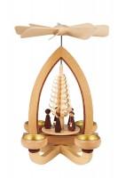 Vorschau: Teelichtpyramide mit Kurrende, 28 cm hergestellt von Heinz Lorenz Olbernhau/ Erzgebirge_Bild1