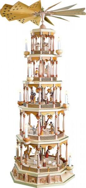 Weihnachtspyramide Christi Geburt 5 - stöckig mit 28er Spielwerk, Melodie: Stille Nacht, elektrisch angetrieben und beleuchtet, 123 cm, Richard Glässer GmbH …