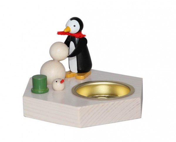 Teelichthalter Pinguin mit Schneemann, 6 cm von Volker Zenker aus Seiffen