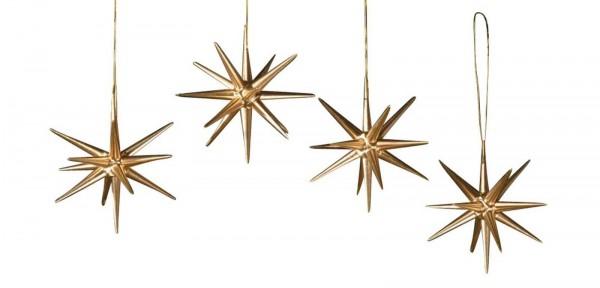 Christbaumschmuck aus Holz, Weihnachtssterne gold, 4-teilig hergestellt von Albin Preißler_Bild1
