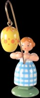 Vorschau: Ostermädchen von WEHA-Kunst mit gelben Osterei, 11 cm _Bild2