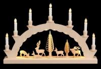 Vorschau: LED Schwibbogen mit dem Motiv geschnitzte Hirsche und 2-facher Beleuchtung von Nestler-Seiffen_Bild2