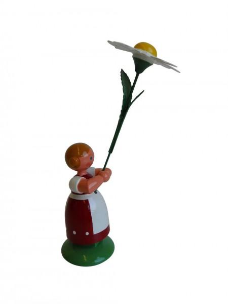 Blumenkinder - Feld- und Wiesenblumenkind Mädchen mit Margerite, 11 cm von WEHA-Kunst Dippoldiswalde/ Erzgebirge