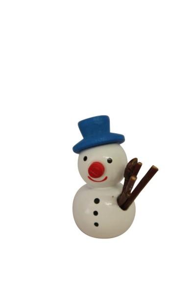 Weihnachtsfigur Schneemann mit blauem Hut, 2,7 cm, Nestler-Seiffen.com OHG Seiffen/ Erzgebirge