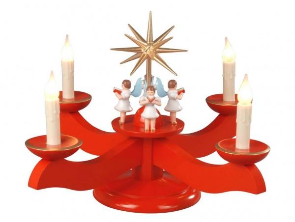 Albin Preißler Adventsleuchter mit 4 stehenden Engeln, rot, elektrisch beleuchtet