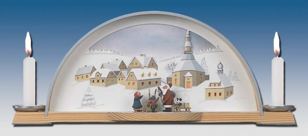 Schwibbogen mit Weihnachtsmann mit Kind und elektrischer Hintergrundbeleuchtung, 33 x 14 cm, Manufaktur Klaus Kolbe Seiffen/ Erzgebirge
