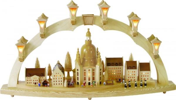 Schwibbogen Frauenkirche mit Striezelmarkt, komplett elektrisch beleuchtet, 43 cm x 80 cm, Richard Glässer GmbH Seiffen/ Erzgebirge