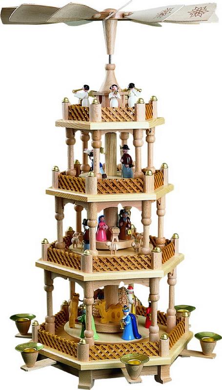 Weihnachtspyramide Christi Geburt, 3 - stöckig, bunt, 54 cm, Richard Glässer GmbH Seiffen/ Erzgebirge