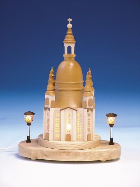 Sockelbrett Frauenkirche, komplett elektrisch beleuchtet, 24,5 cm, Knuth Neuber Seiffen/ Erzgebirge