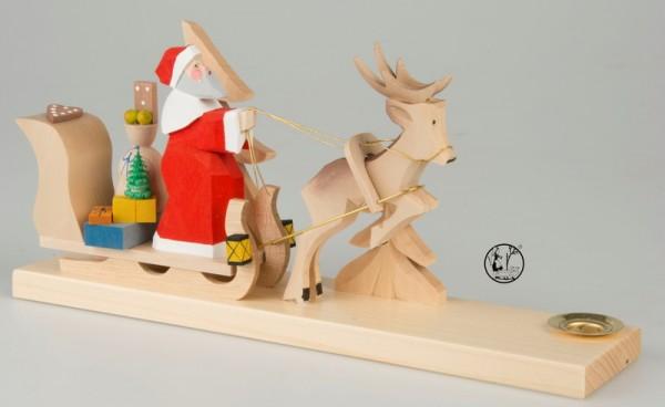 Weihnachtskerzenhalter, geschnitzter Weihnachtsmann auf Schlitten, 12 cm, Bettina Franke Deutschneudorf/ Erzgebirge