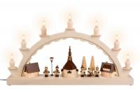 Vorschau: Schwibbogen Seiffener Dorf mit Thiel Kinder und beleuchteter Straßenlaterne und beleuchteter Kirchturmuhr, komplett elektrisch beleuchtet, 50 x 28 cm, …