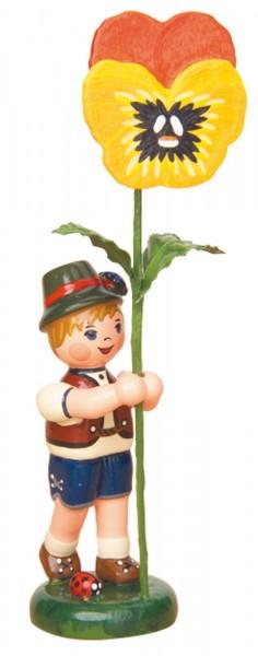 Junge mit Stiefmütterchen aus der Serie Hubrig Blumenkinder aus Holz