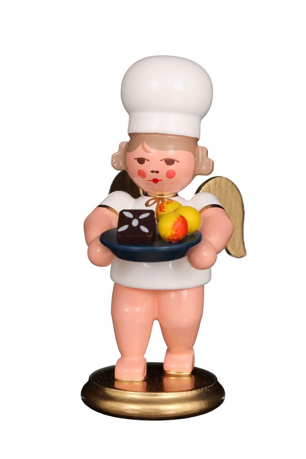 Weihnachtsengel - Bäckerengel mit Weihnachtsteller, 8 cm von Christian Ulbricht GmbH & Co KG Seiffen/ Erzgebirge