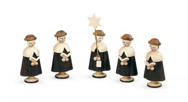 Kurrende von Müller Kleinkunst aus Seiffen, 5 Figuren natur, 4,5 cm