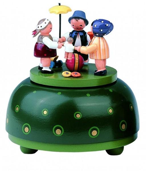 Spieluhr & Spieldose Kinderreigen, 12 cm, Melodie: Hopp, hopp, hopp, KWO Kunstgewerbe-Werkstätten Olbernhau/ Erzgebirge