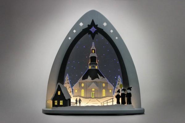 Schwibbogen & Lichterspitze Seiffener Kirche, LED beleuchtet, 52 x 53,5 x 9,0 cm, Günter Gläser Deutschneudorf/ Erzgebirge Die moderne LED …