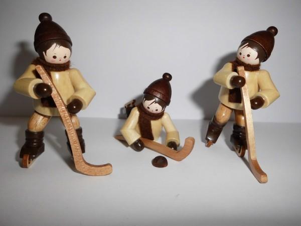 Eishockey, 3 - teilig, natur, 6 cm, Romy Thiel Deutschneudorf/ Erzgebirge