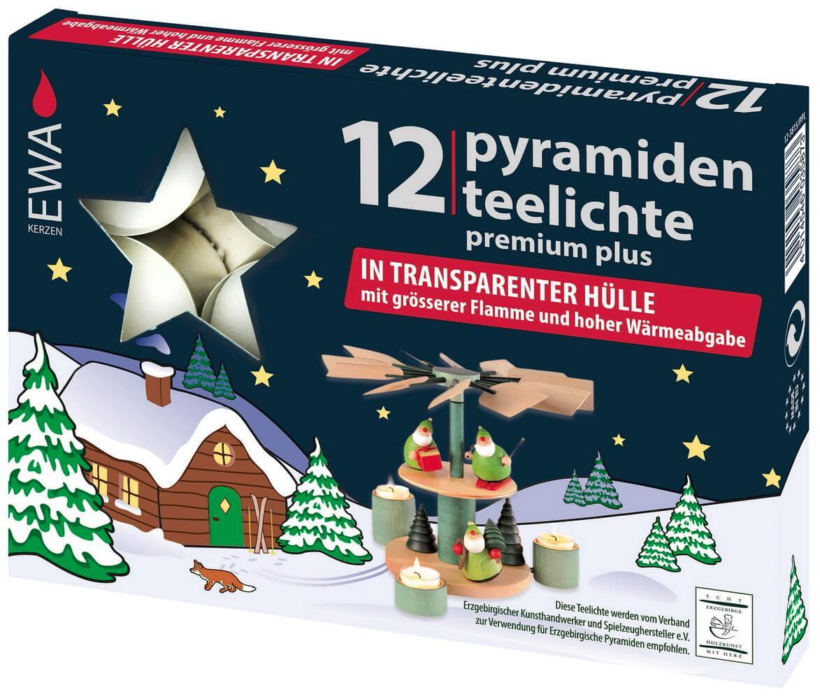 EWA Pyramidenteelichter, Premium, 12 Stück