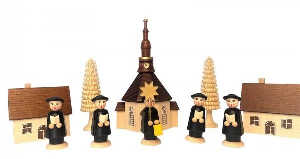 10 - teiliges Seiffener Dorf mit Kurrende und Kirche_Bild1
