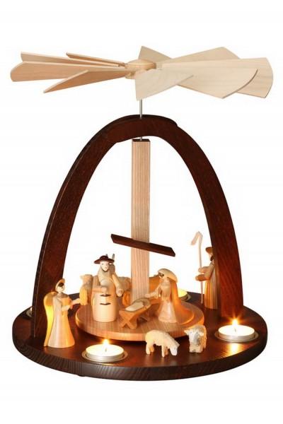 Teelichtpyramide mit Heiliger Familie für Teelichter, 33 cm von Theo Lorenz aus Seiffen