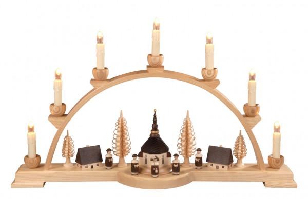Schwibbogen mit Seiffener Dorf und Kurrende, natur, 60 cm, elektrisch beleuchtet, hergestellt von Albin Preißler