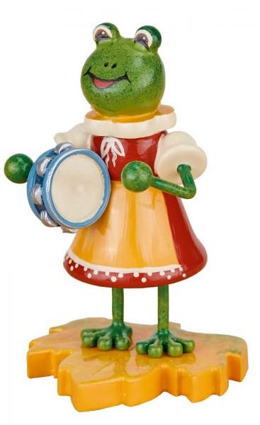 Hubrig Dekofigur Frosch Mädchen aus Holz mit Tamburin