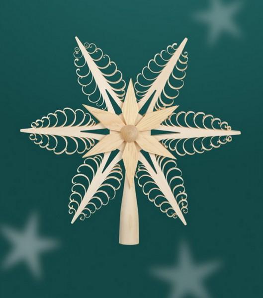 Christbaumspitze Holzstern mit 1 - seitig gestochenen Leisten - Mittelteil ist ein Holzstern, Durchmesser 24 cm, Martina Rudolph Seiffen/ Erzgebirge