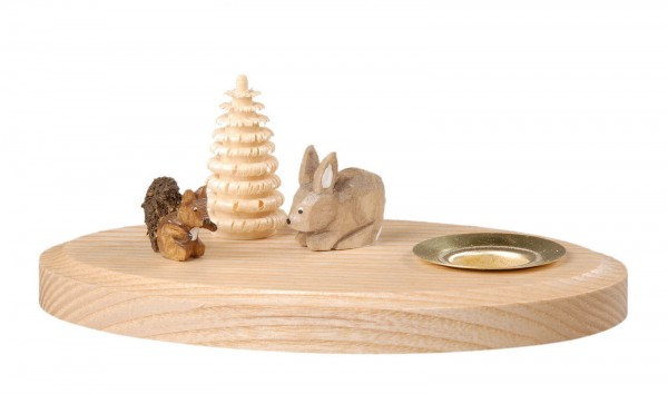Kerzenhalter mit Eichhörnchen und Hase hergestellt von Albin Preißler