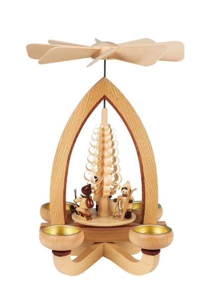 Teelichtpyramide mit Weihnachtsmotiv, 28 cm hergestellt von Heinz Lorenz Olbernhau/ Erzgebirge_Bild1