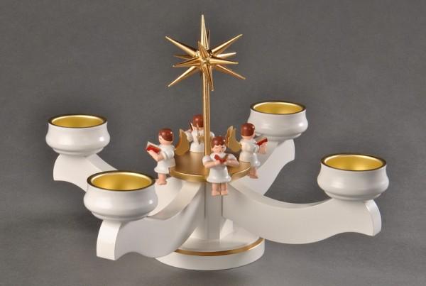 Adventsleuchter, weiß - 4 sitzende Engel und Stern für Teelichter, aus massivem Buchenholz, weiß lackiert, Engel mit Gesangbuch gedrechselt, in Handarbeit …