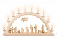 Vorschau: LED Schwibbogen mit großer Christi Geburt, geschnitzt, elektrisch beleuchtet mit LED, 60 cm x 29 cm, Ersatzkerzen: EL55LED, Nestler-Seiffen.com OHG Seiffen/ …