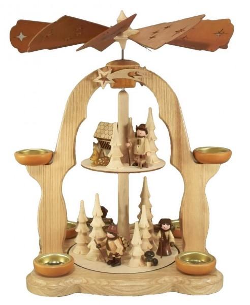 Weihnachtspyramide Waldleute, 2-stöckig für Teelichter, natur, 40 cm, Legler Holz- und Drechslerwaren Olbernhau/ Erzgebirge