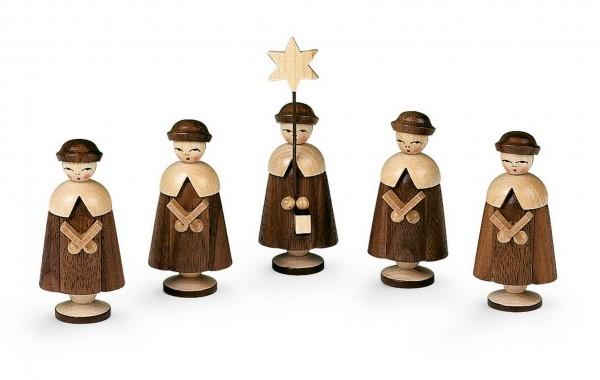 Kurrende, 5 Figuren natur, 6,5 cm, Müller Kleinkunst aus Seiffen