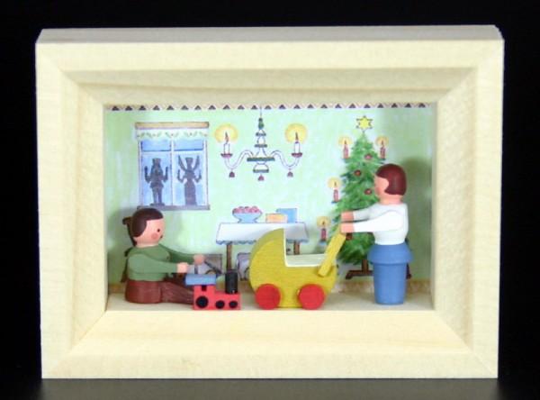 Miniatur im Rähmchen Weihnachtsstube von Gunter Flath aus Seiffen / Erzgebirge Detailgetreue Nachbildung einer Weihnachtsstube aus früheren Zeiten. Diese …