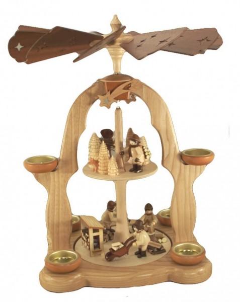 Weihnachtspyramide Waldarbeiter, 2-stöckig für Teelichter, natur, 40 cm, Legler Holz- und Drechslerwaren Olbernhau/ Erzgebirge