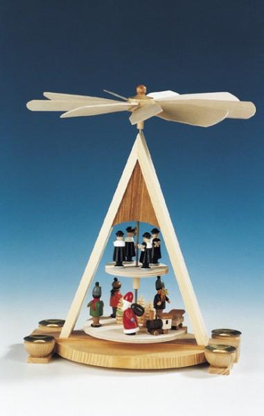 Weihnachtspyramide Bescherung mit Weihnachtsmann, 35 cm, Knuth Neuber Seiffen/ Erzgebirge