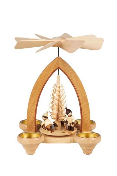 Weihnachtspyramide Winterkinder für Teelichter, 26 cm hergestellt von Heinz Lorenz Olbernhau/ Erzgebirge_Bild1