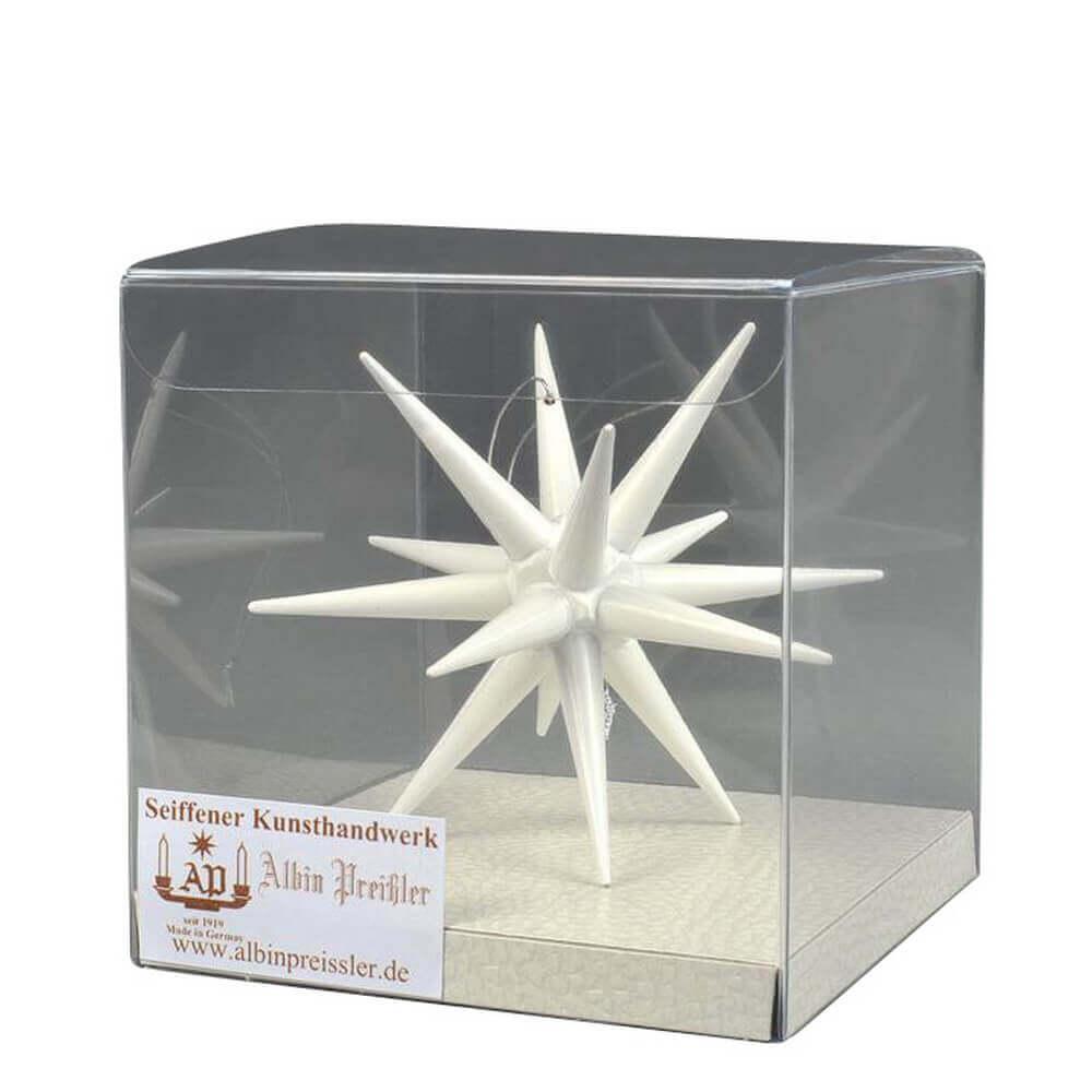 Christbaumschmuck Weihnachtsstern weiß, 10 cm hergestellt von Albin Preißler