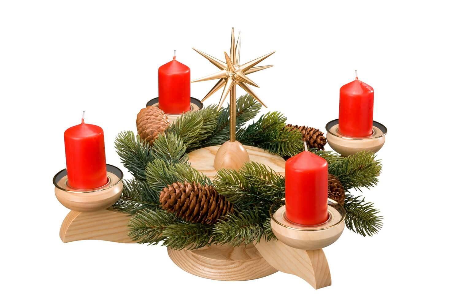 Albin Preißler Adventsleuchter mit Weihnachtsstern und Tannenkranz, natur