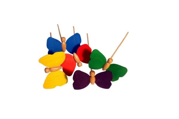 Blumenstecker Schmetterlinge, 5 Stück 9 x 7 cm, Stab 30 cm von Erzgebirgische Holzspielwaren Ebert GmbH Olbernhau/ Erzgebirge