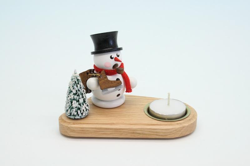 Weihnachtskerzenhalter Schneemann mit Schlittschuh, weiß, 14 x 8 x 8 cm, Gerd Hofmann Seiffen/ Erzgebirge