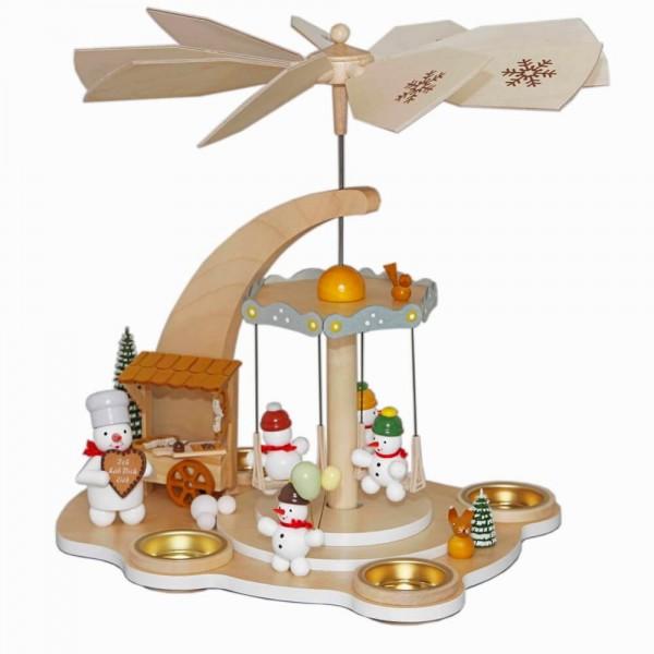 Teelichtpyramide mit Schneemännern - Karusell, 28 cm von Volker Zenker aus Seiffen