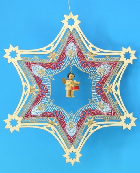 Fensterbild Plauener Spitze Stern, rot im Holzrahmen und Weihnachtsengel mit Trommel, natur, 31 x 31 cm, Frieder & André Uhlig Seiffen/ Erzgebirge