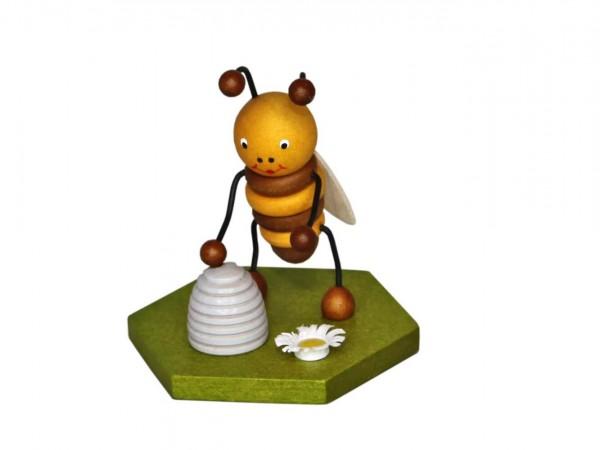 Biene mit Bienenkorb, 8 cm von Volker Zenker aus Seiffen